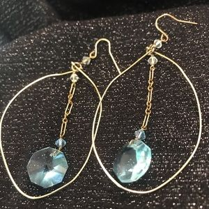 GOLDEN TONE ABSTRACT WIRE earrings with crystals